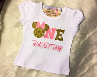 Minnie Mouse Birthday shirt, Minnie Mouse Birthday outfit, Minnie Mouse customized shirt, Minnie Mouse tutu, Pink and Gold Minnie