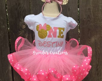 Pink and Gold Minnie Mouse Birthday Outfit ,Minnie Mouse Birthday Tutu Outfit ,Minnie Mouse Ribbon Tutu , Pink Minnie Mouse Tutu