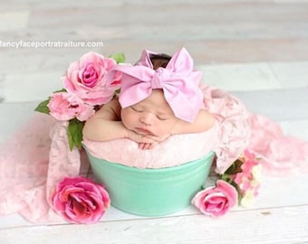 CARNATION Gorgeous Wrap- headwrap; fabric head wrap; pink head wrap; boho; newborn headband; baby headband; toddler headband