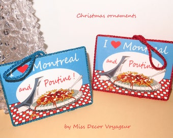 I love Poutine Montreal - Christmas ornaments - Holiday Gift - Foodies Gift - Boxing day sale