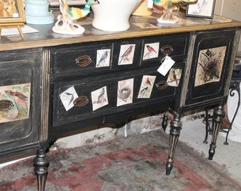 Painted Buffet with Bird Graphics and Original Glazes