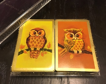 Vintage Double Deck Stancraft Playing Cards Owl Design Nu Vue Plastic Coated