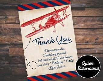 Airplane Thank you card, Airplane Birthday Invitation
