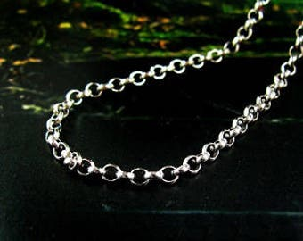 925 sterling silver Rollo chain-solid antique silver-loop chain-dainty jewellry-finished ready to wear-necklace pendant chain