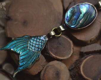 Pendant Mermaid's tail Turquoise Brass Copper pendant epoxy and gears
