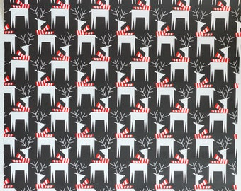 Gift Wrap, Gift Wrapping Paper, Gift Packaging, Christmas Wrapping Paper, Deer Print on Black Paper, 30 inch x 10 feet