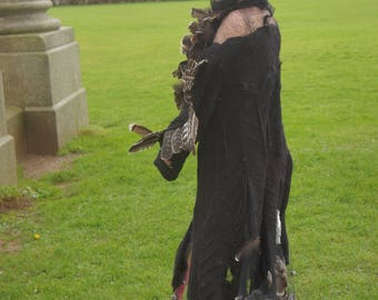 raven crow coat party costume feathers grunge halloween dress