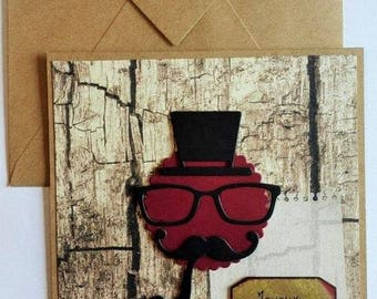Birthday card for men moustache and pipe
