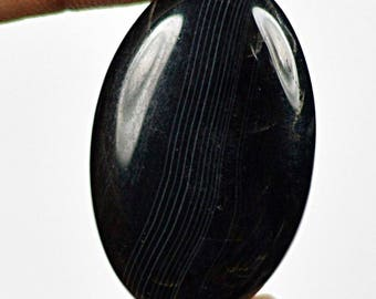 Natural Black Onyx Agate Oval Cabochon. 34x22 mm. 43 Cts.