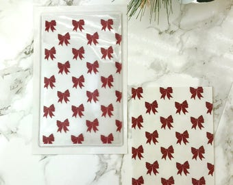 Red Bows DashStash Sticker for Adhesive Vinyl Pockets  For TN's and Midori Travelers Notebook & Ringbound Planners