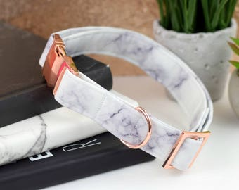 Dog Collar - White/Gray Marble Print Cotton Fabric Dog Collar - Kona Cotton - Fashion Dog Collar - Rose Gold Metal Hardware