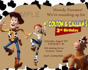 Toy Story Birthday Invitation, Twins Birthday. Digital (you print)