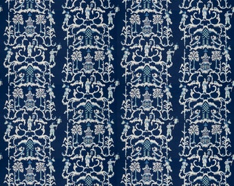 DESIGNER CHINOISERIE LINEN Fabric 10 Yards Navy Multi