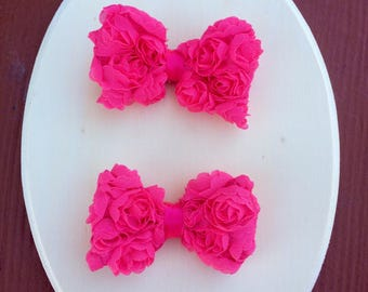 Pink Rose Clips ~ Pig Tail Clips ~ Sister Clips ~ Photo Prop ~ Hot Pink Clips ~ Baby Shower Gift ~ Birthday Present ~ Easter ~ Valentine's