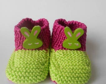 Two-tone pink and green Easter bunny slippers