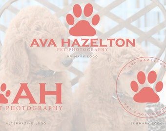 Dog Paw Logo, Dog Photography Logo, Pet Photography Logo, Pet Salon Logo, Dog Grooming Logo,  Premade Logo, Paw Watermark, Pet Boutique Logo
