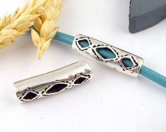 passing tube pattern ethnic hollow curved 30mm silver plated 4mm leather
