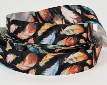 """7/8"""" inch Falling Feather, Colorful Feathers on Black - Printed Grosgrain Ribbon for Hair Bow - Original Design"""