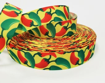 """7/8 """" inch Hot Chili Peppers - Red and Green Jalapenos on Yellow - Printed Grosgrain Ribbon for 7/8 inch  Hair Bow"""