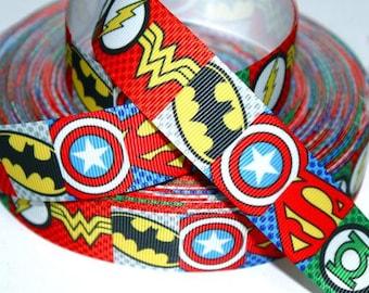 7/8 inch SUPERHERO Block Design - Super Hero - Super heroes blue red - Printed Grosgrain Ribbon for Hair Bow