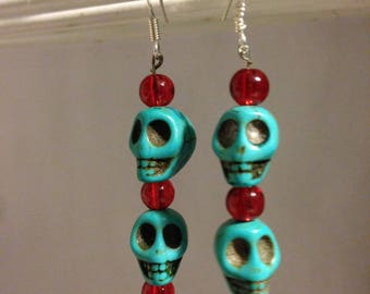 Blue skulls and red beads