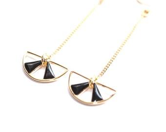 Gold plated MOON black enamel earrings