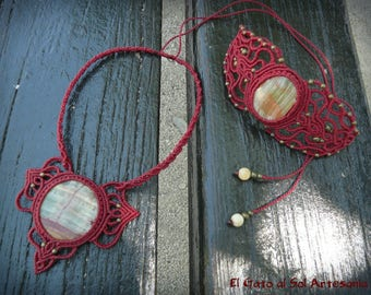 SALE set of bracelet and necklace in macrame, with semi-precious stone Onyx Afghan