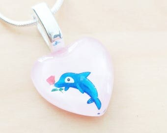 Valentine girl Dolphin necklace gift