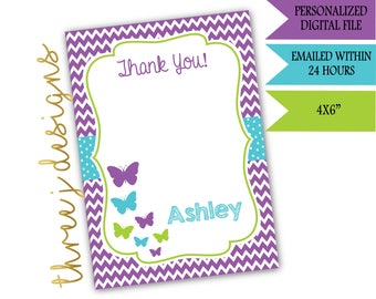 Butterfly Baby Shower Thank You Card - Personalized - Purple, Teal and Green - Digital File - J006