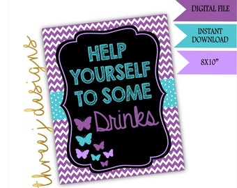Butterfly Baby Shower Drink Table Sign - INSTANT DOWNLOAD - Purple and Teal - Digital File - J001