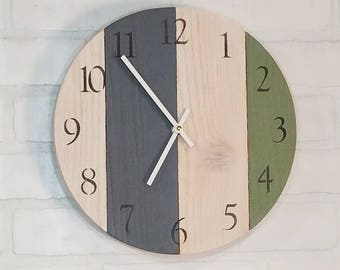 Round Wall Clock - Green White and Blue Stripe
