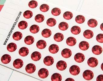 54 red full moon stickers, period sticker, planner stickers, shark week reminder, eclp filofax happy planner