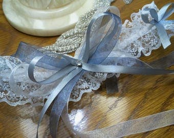 White and silver gray lace wedding garter