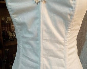 Pretty corset / bustier in cotton fabric damask on white embroidered