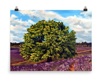 Lavender Field Tree Landscape Acrylic Painting - Giclee Print made for Original Painting