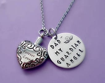 Memorial Necklace, Cremation Urn Pendant Necklace, Hand Stamped I Used to Be His Angel Now He's Mine, Memorial Jewelry, Remembrance Necklace