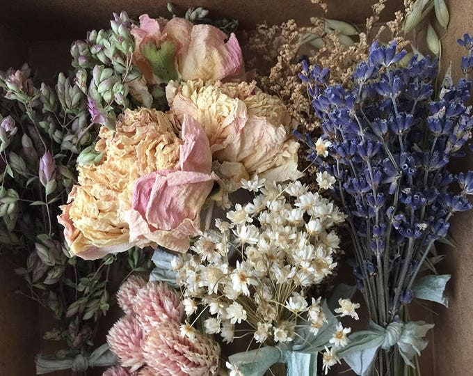 Bloomery Blend No. 0017: Short Stem Peonies & Mixed Dried Flower Bunches /  Pink - Natural White - Purple - Green