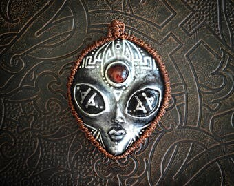 Alien/ ET pendant with red tigers eye crystal