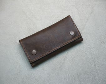 Handcrafted Sauvage Leather Tobacco Pouch (Dark Brown) Handmade Rolling Cigarettes Case