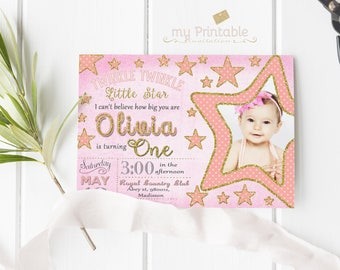 Twinkle Twinkle Little Star Birthday Invitation / Digital Printable Invite for Kids with photo / first Party / DIY 1st