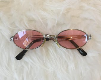 Pink Tinted Oval Sunglasses
