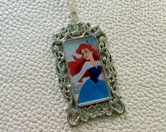 Large Rectangle Princess Cameo Necklace - The Little Mermaid, Ariel