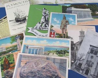 Vintage Lot of Postcards and Travel Booklets Plymouth, Massachussetts