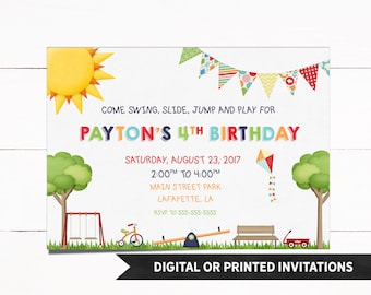 Park Invitation, Playground Invitation, Park Birthday Invitation, Playground Invitation, Birthday Invitation, Bounce Invitation