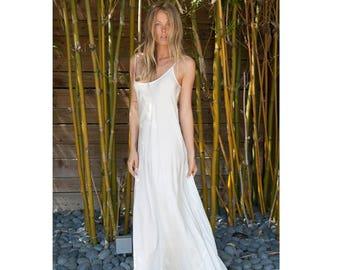 30% OFF SALE Ivory silk slip bias dress