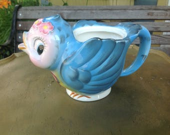Vintage tea pot Lefton blue bird