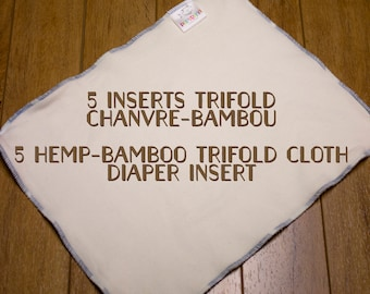 5 trifold diaper insert kit / Cloth diaper insert / trifold insert / diaper insert / hemp-bamboo cloth diaper insert