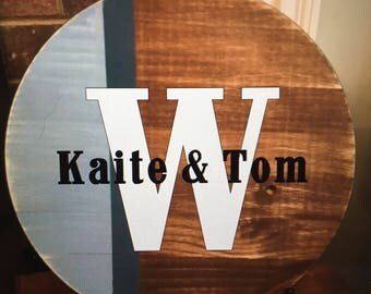 18 in Round Wood Sign- personalized family name sign birthday/mothers day/ house warming gift