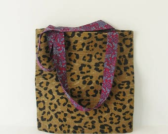 Tote Bag leopard and vintage blue and Red/pink liberty