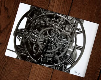 Photo black and white clock gears mechanism
